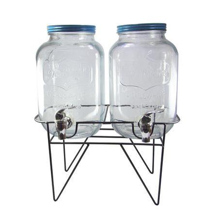 Imagem de Conjunto de suqueira dupla 2 litros cada com suporte tampa turquesa