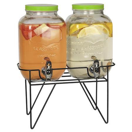 Imagem de Conjunto de suqueira dupla 2 litros cada com suporte tampa verde