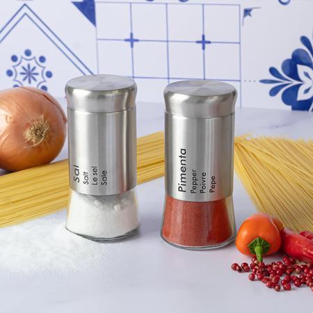 Imagem de Conjunto Saleiro e Pimenteiro em Inox e Vidro - Uny Gift
