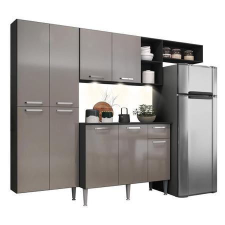 Imagem de Cozinha Compacta c/ 3 Leds Armário e Balcão com Tampo Pequim Sun Multimóveis Preta/Lacca Fumê