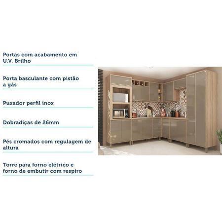 Imagem de Cozinha Completa Modulada 8 Peças com Armário e Balcão Yara Luciane Móveis