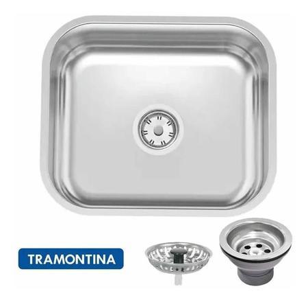Imagem de Cuba Embutir Cozinha Tramontina Aço Inox Polido 40x34cm