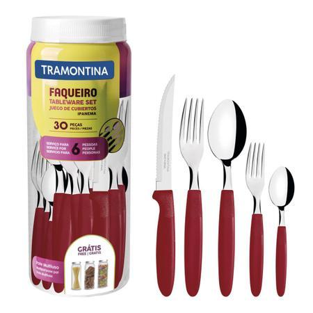 Imagem de Faqueiro 30 Peças Tramontina 23398788 Ipanema Aço Inox Vermelho