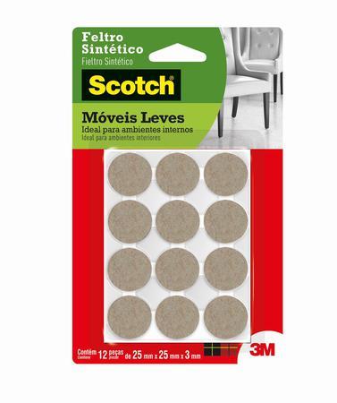 Imagem de Feltro Anti-Risco redondo pequeno 12 unidades marrom 3M Scotch
