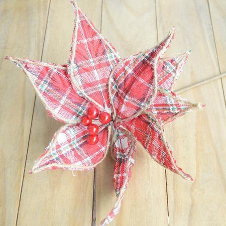 Imagem de Flor Artificial Natalina Poinsetia Luxo Xadrez  Linha Natal Encantado
