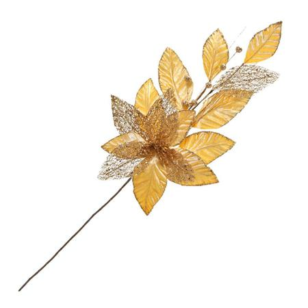 Imagem de Flor Natalina para Arranjos 63x19cm Dourada Espressione Christmas