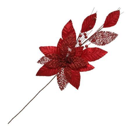 Imagem de Flor Natalina Para Arranjos 63x19cm Vermelha Espressione Christmas