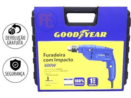 Imagem de Furadeira De Impacto 600w 10mm Goodyear GY-DI-10600K-3 Com Maleta