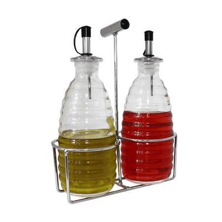 Imagem de Galheteiro de vidro com suporte cromado 2 peças