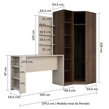 Imagem de Guarda Roupa Canto Closet sem Portas 4 Peças, Prateleiras e Bancada com Painel Prime Luciane Móveis