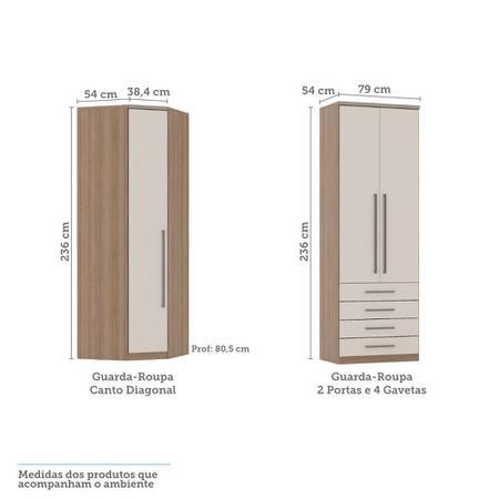 Imagem de Guarda Roupa Modulado de Canto 7 Portas 8 Gavetas Cabeceira e Escrivaninha Connect Luciane Móveis