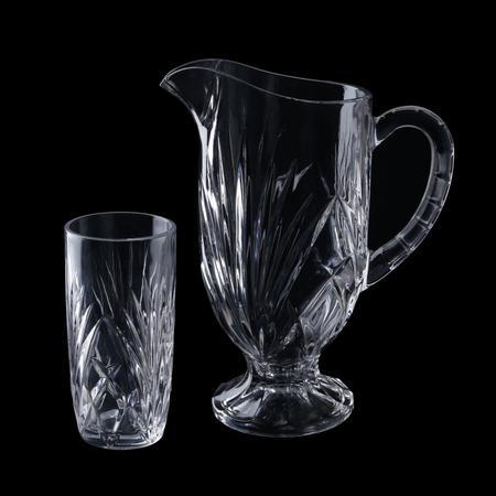Imagem de Jarra com 6 Copos de Cristal de Chumbo Alberta 1L385ml L3805 Lyor Transparente