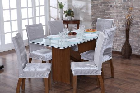 Imagem de Jogo capa de cadeira 4 lugares luxo veludo prata