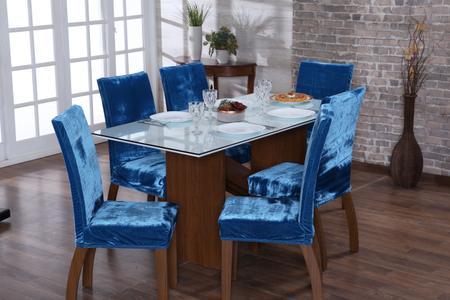 Imagem de Jogo capa de cadeira 4 lugares luxo veludo turquesa