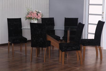 Imagem de Jogo capa de cadeira 6 lugares luxo veludo preto