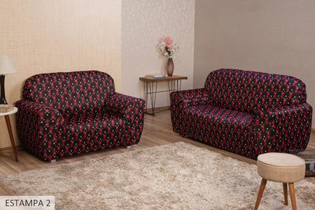 Imagem de Jogo Capa para Sofá 2 e 3 Lugares Agarradinha Estampada