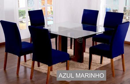 Imagem de Jogo com 4 Capas Para Cadeira Sala de Jantar Cores Lisa
