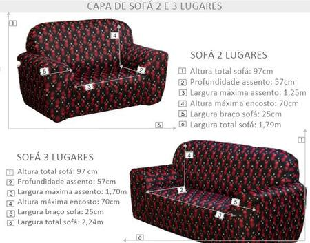 Imagem de Jogo de Capas Para Sofá 2 e 3 Lugares Estampada Decorativa