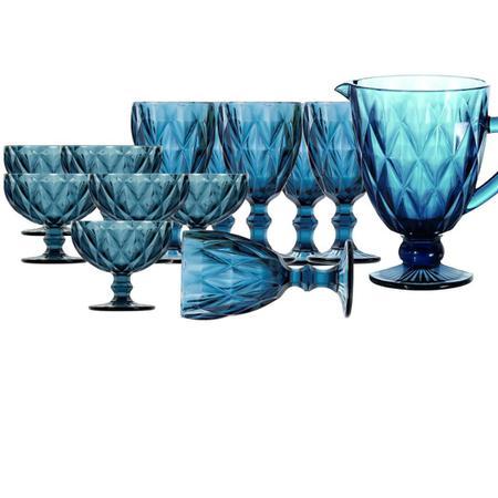 Imagem de Jogo de Jarra e Taças para Água e Sobremesa Diamond Azuis