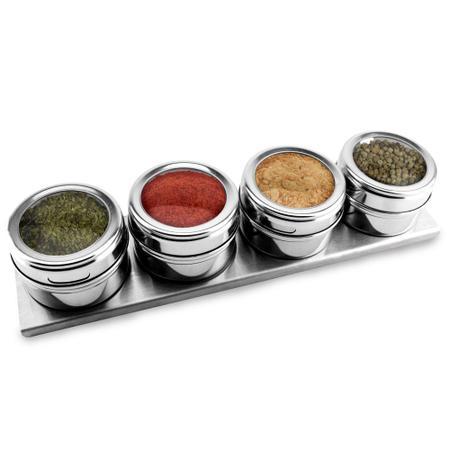 Imagem de Jogo De Porta Condimentos 4 Potes De Aço Inox Com Suporte Imantado KH5976
