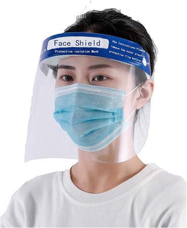 Imagem de kit 12 Protetor Facial Medical Face Shield P/respingos Espaço P/óculos Azul