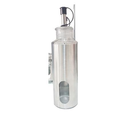 Imagem de Kit 2 Galheteiros De Aço Inox Azeite E Vinagre Com Dosador
