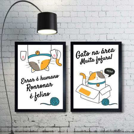 Imagem de Kit 2 Quadros Decorativos Gatos Frase Mod 321 21x30cm