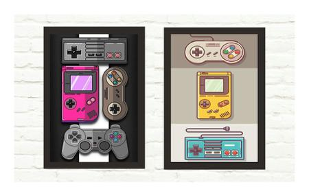 Imagem de Kit 2 Quadros Decorativos Vídeo Games Mod 26 21x30cm
