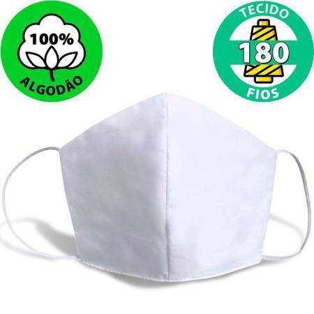 Imagem de Kit 3 Máscaras de Proteção de Tecido 100% Algodão 180 fios Lavável Reutilizável com Elástico - M Emcompre