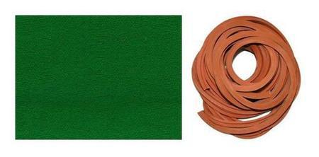 Imagem de Kit 3m Pano Tecido Verde + 8m Borracha L Mesa Sinuca Bilhar