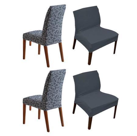 Imagem de Kit 4 Capa de Cadeira Estampada e Lisa Botanica Cinza Sultan