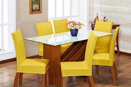 Imagem de Kit 4 Capas de Cadeira Amarelo pra 4 Lugares Lisa Cozinha - Malha Gel