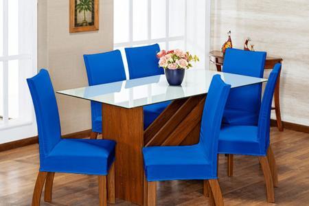 Imagem de Kit 4 Capas de Cadeira Azul pra 4 Lugares Lisa Cozinha - Malha Gel