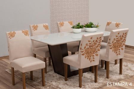 Imagem de Kit 4 Capas Para Cadeira de Jantar Malha Elástica Estampadas