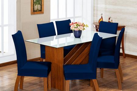 Imagem de Kit 4 Capas Para Cadeira Jantar Alta Qualidade Com Elástico Malha Azul Marinho