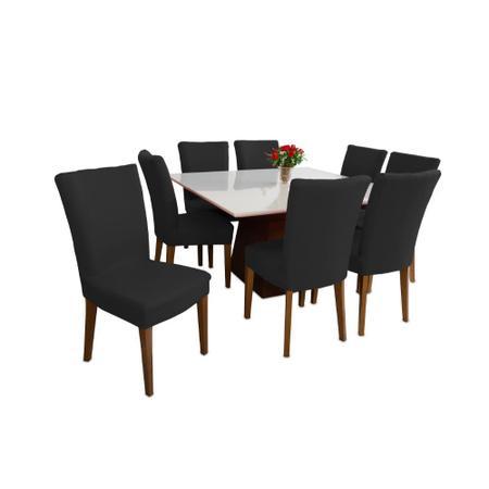 Imagem de Kit 4 Capas Para Cadeira Jantar Elástica Linda Preta Luxo