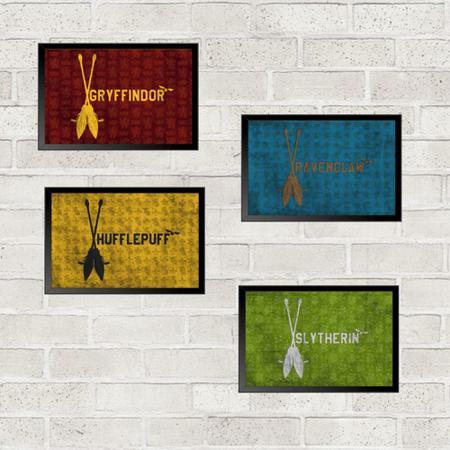 Imagem de Kit 4 Quadros Decorativos Harry Potter Casas 21x30cm