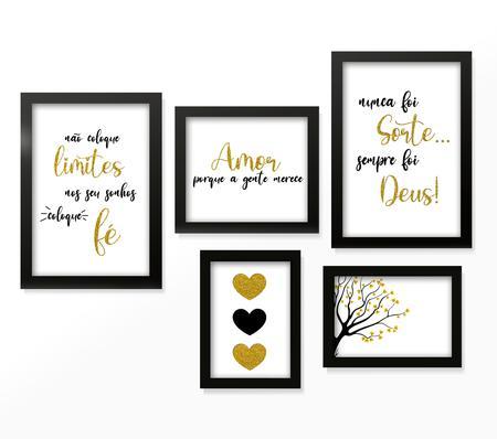 Imagem de Kit 5 Quadros Decorativos C/ Moldura Sala Quarto Frases Motivacionais