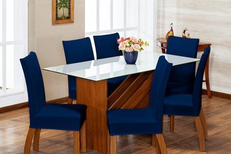 Imagem de Kit 6 Capas de Cadeira Azul Marinho pra 6 Lugares Lisa Cozinha - Malha Gel