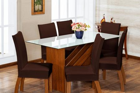 Imagem de Kit 6 Capas de Cadeira Marrom pra 6 Lugares Lisa Cozinha - Malha Gel