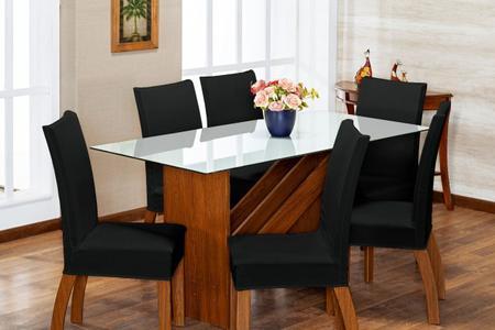 Imagem de Kit 6 Capas de Cadeira Preto pra 6 Lugares Lisa Cozinha - Malha Gel