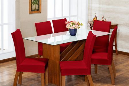 Imagem de Kit 6 Capas de Cadeira Vermelho pra 6 Lugares Lisa Cozinha - Malha Gel