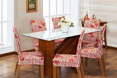 Imagem de Kit 6 Capas Para Cadeira Jantar Com Elástico Estampada Malha Vermelho