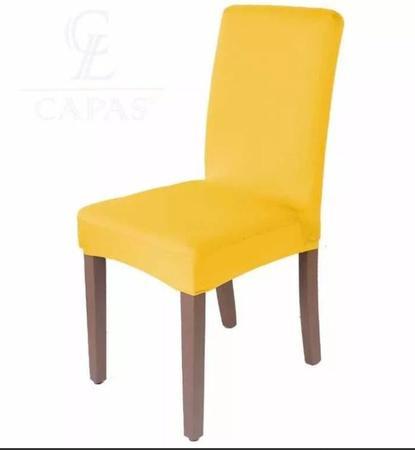 Imagem de Kit 6 Capas Para Cadeira Jantar Malha C/ Elástico Amarela