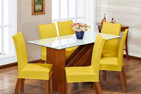Imagem de Kit 6 Capas Para Cadeira Jantar Malha Com Elástico Amarelo