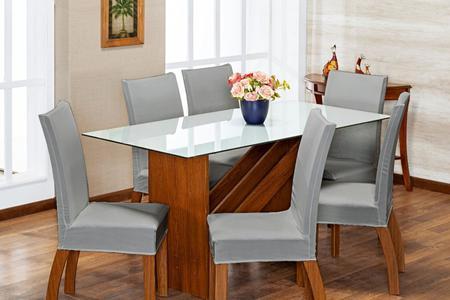 Imagem de Kit 6 Capas Para Cadeira Jantar Malha Com Elástico Cinza