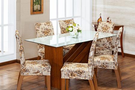 Imagem de Kit 6 Capas Para Cadeira Jantar Malha Com Elástico Estampada Bege