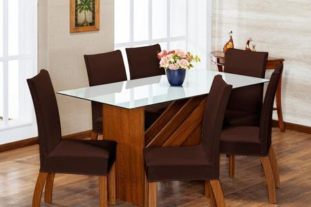 Imagem de Kit 6 Capas Para Cadeira Jantar Malha Com Elástico Marrom