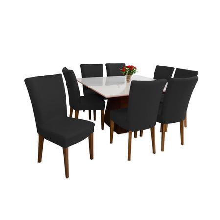 Imagem de Kit 8 capas Para Cadeira Cozinha Sala De Jantar Malha Preta
