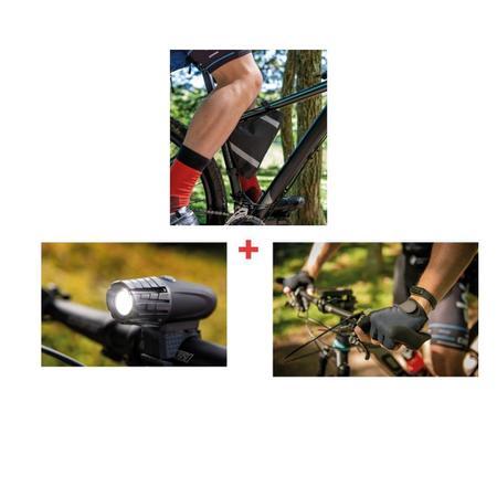 Imagem de Kit bolsa de quadro ciclista  e lanterna e luva cilismo p